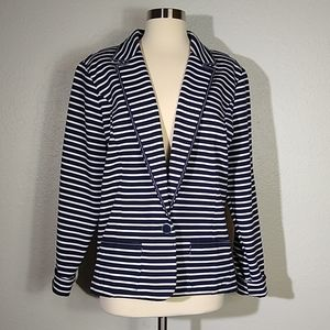Christopher and Banks Nautical Striped Blazer XL